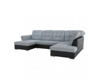 Rohová sedačka U s rozkladom a úložným priestorom Amoti P - čierna / sivá