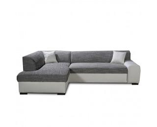 Rohová sedačka s rozkladom a úložným priestorom Minerva L - biela / sivá melírovaná