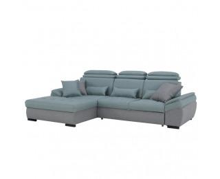 Rohová sedačka s rozkladom a úložným priestorom Natik L - sivá / mentolová