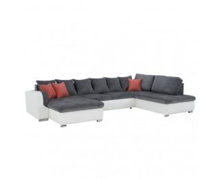 Rohová sedačka s rozkladom Kastor P - biela / sivá