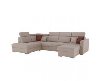 Rohová sedačka U s rozkladom a úložným priestorom Marieta P - béžová / tehlová