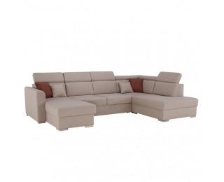 Rohová sedačka U s rozkladom a úložným priestorom Marieta L - béžová / tehlová