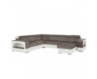 Rohová sedačka U s rozkladom a úložným priestorom Kamelia P - biela / hnedá