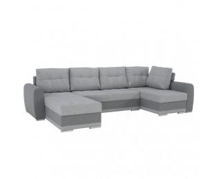 Rohová sedačka U s rozkladom a úložným priestorom Debora P - svetlosivá / tmavosivá