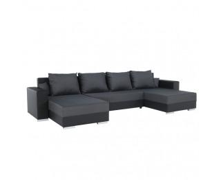 Rohová sedačka U s rozkladom Estevan L/P - čierna / sivá