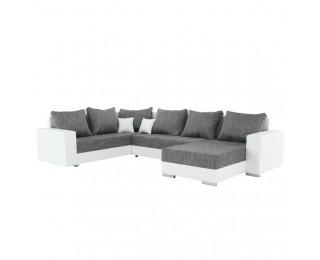 Rohová sedačka U s rozkladom a úložným priestorom Stilo L/P - biela / sivá