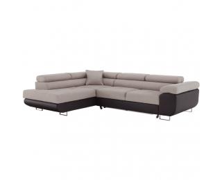 Rohová sedačka s rozkladom a úložným priestorom Amareto L - hnedá / béžová
