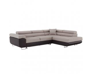 Rohová sedačka s rozkladom a úložným priestorom Amareto P - hnedá / béžová