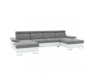 Rohová sedačka U s rozkladom a úložným priestorom Magic L/P - biela / sivá