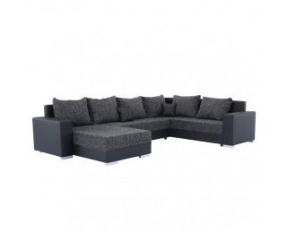 Rohová sedačka U s rozkladom a úložným priestorom Stilo L/P - čierna / tmavosivá