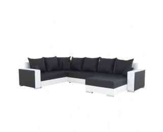 Rohová sedačka U s rozkladom a úložným priestorom Palio L/P - biela / čierna