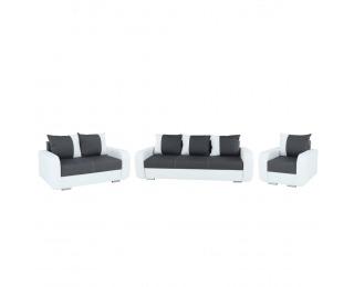 Rozkladacia sedacia súprava Mono 3+2+1 - biela / čierna