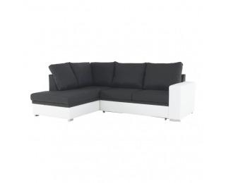 Rohová sedačka s rozkladom a úložným priestorom Waran L - biela / čierna