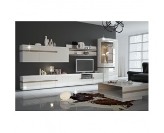 Obývacia izba Lynatet - biela / biely vysoký lesk / dub sonoma truflový