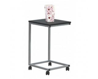 Príručný stolík na kolieskach Manny - čierna / strieborná