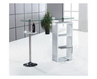 Barový stôl Melina New - biely lesk / číre sklo / chróm