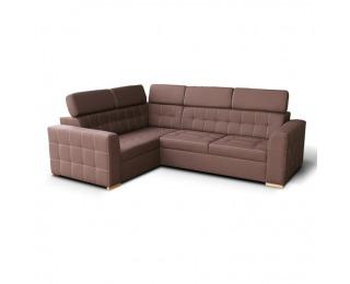 Rohová sedačka s rozkladom a úložným priestorom Kazara RV L - čokoládová / svetlé šitie