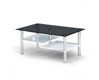 Konferenčný stolík Sven - oceľ / čierna / biely vysoký lesk