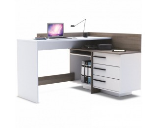 Rohový PC stolík Tale 484879 L/P - tmavý dub / biela