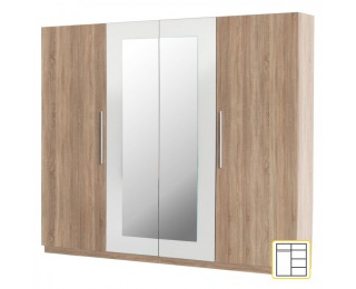 Šatníková skriňa so zrkadlom Martina 4D - dub sonoma / biela