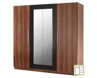 Šatníková skriňa so zrkadlom Martina 4D - orech / čierna