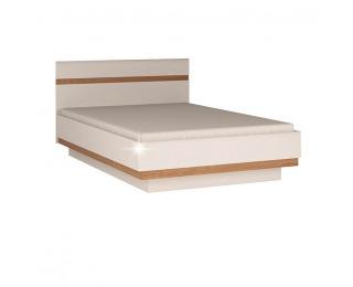 Manželská posteľ Lynatet 92 160 - biela / biely vysoký lesk / dub sonoma truflový