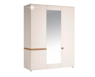Šatníková skriňa so zrkadlom Lynatet 22 3D - biela / biely vysoký lesk / dub sonoma truflový