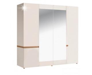Šatníková skriňa so zrkadlom Lynatet 23 - biela / biely vysoký lesk / dub sonoma truflový