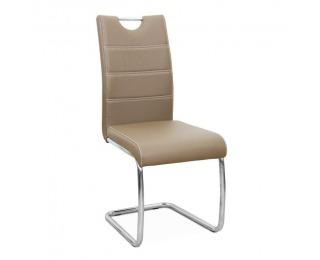 Jedálenská stolička Abira New - cappuccino / chróm