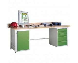Dielenský PC stôl so skrinkou na PC a vetracou mriežkou AH - svetlosivá / zelená