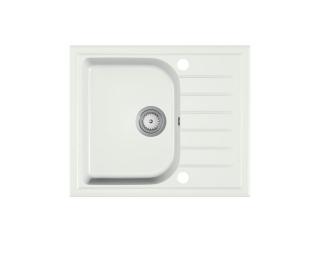 Granitový kuchynský drez Alaros 58,5x49 cm - biela