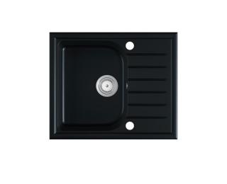 Granitový kuchynský drez Alaros 58,5x49 cm - čierna