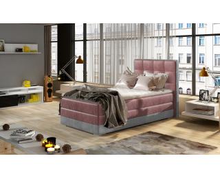 Čalúnená jednolôžková posteľ Alessandra 90 L - bordová / svetlosivá