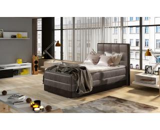 Čalúnená jednolôžková posteľ Alessandra 90 L - hnedá / tmavohnedá