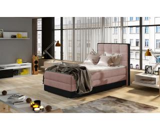 Čalúnená jednolôžková posteľ Alessandra 90 L - ružová / čierna
