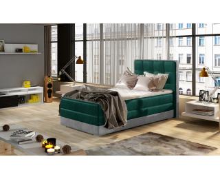 Čalúnená jednolôžková posteľ Alessandra 90 L - tmavozelená / svetlosivá
