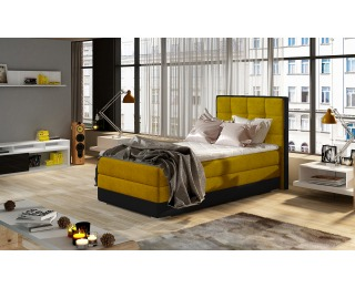 Čalúnená jednolôžková posteľ Alessandra 90 L - žltá / čierna