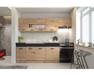Kuchyňa Alina 240 - dub artisan / čierna / sivá