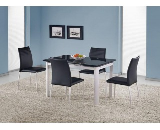 Rozkladací jedálenský stôl Alston - čierne sklo / biely kov