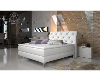 Čalúnená manželská posteľ s úložným priestorom Amika 160 - biela