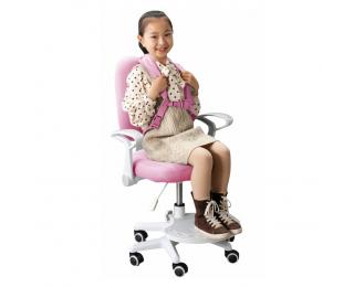 Detská stolička s podnožkou a trakmi Anais - ružová / biela