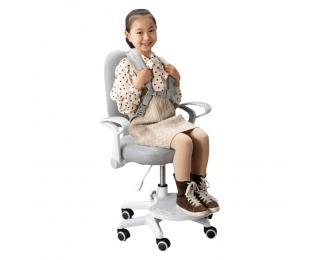 Detská stolička s podnožkou a trakmi Anais - sivá / biela