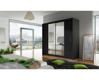 Šatníková skriňa s posuvnými dverami Bega 2 2D - čierna