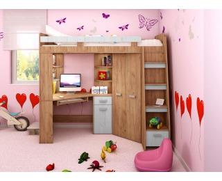 Zostava do detskej izby Antresola P - craft zlatý / craft biely