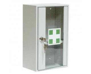 Kovová skrinka na lekárničku so sklom AP1/S - svetlosivá