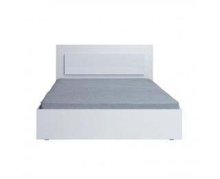 Manželská posteľ s osvetlením Asiena 160 160x200 cm - biela / biely vysoký lesk