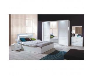 Spálňa Asiena 160 160x200 cm - biela / biely vysoký lesk