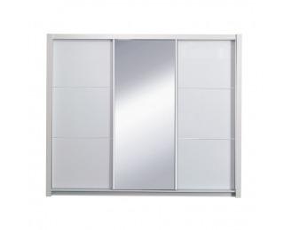 Šatníková skriňa s posuvnými dverami Asiena 258x213 cm - biela / biely vysoký lesk
