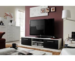 TV stolík Bono II WSH - biela / čierny vysoký lesk