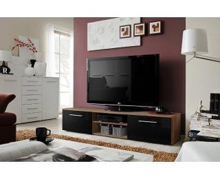 TV stolík Bono II NSH - slivka / čierny vysoký lesk
